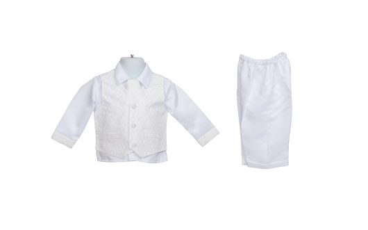 Baby Christening White Silky satin Suit 124