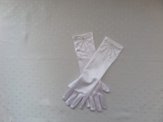 Children Satin Gloves with Pearls /Single Crystals