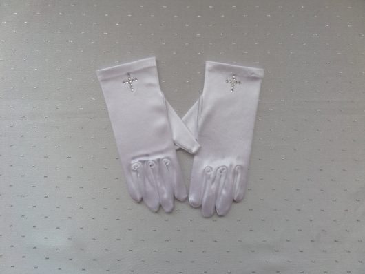 Children Satin Gloves with Diamante Cross