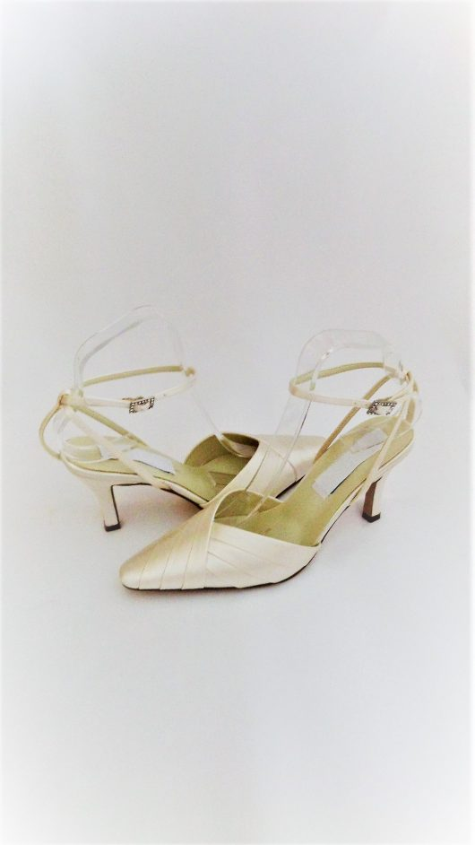 615 Winter White satin Shoes
