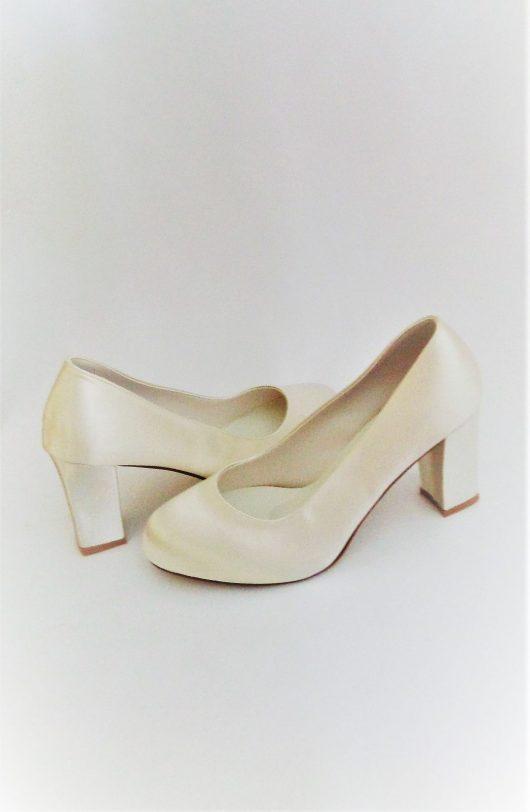 605 Winter White Satin Shoes