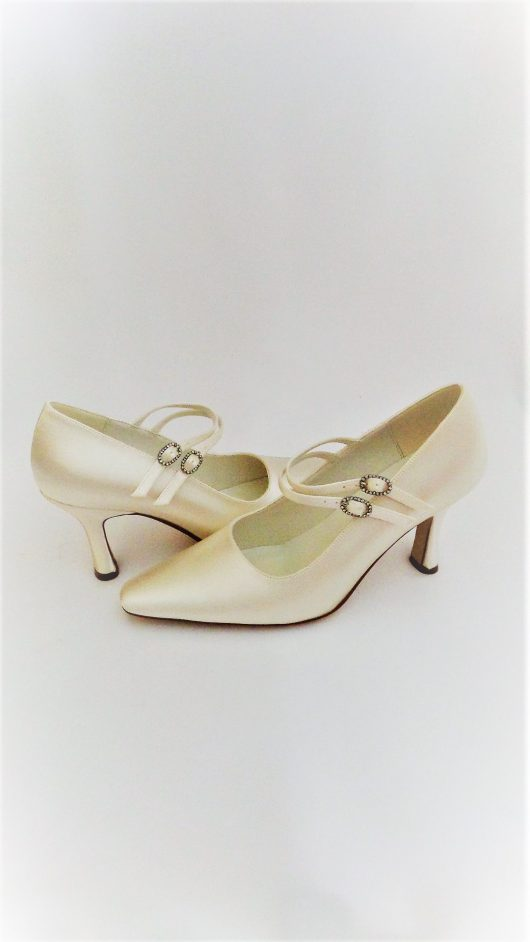 608 Winter White Satin Shoes