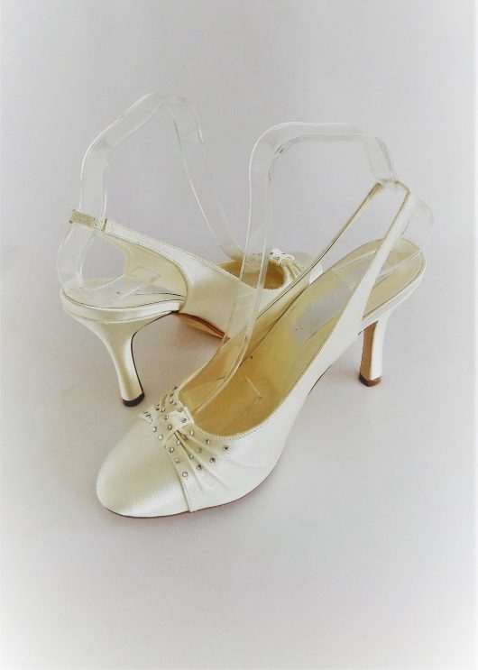 611 Winter White Satin Shoes