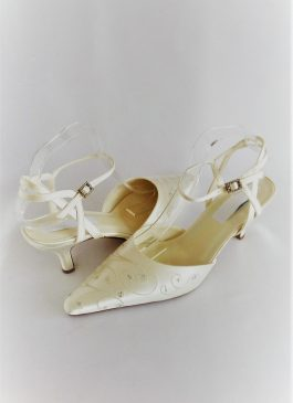 609 Snow White Ankle Strap satin Shoes